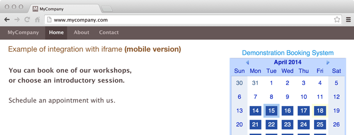 iframe based integration, using mobile version of schedule