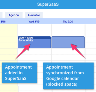 Let your SuperSaaS availability depend on a Google Calendar