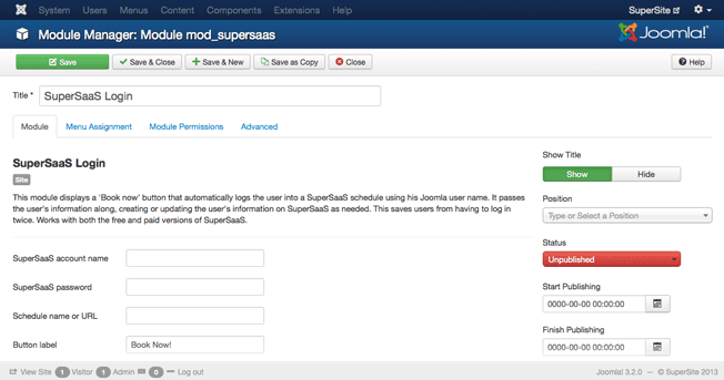 Joomla! SuperSaaS booking modul