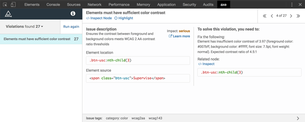 The Axe accessibility tool scans and highlights areas of non-compliance on a web page
