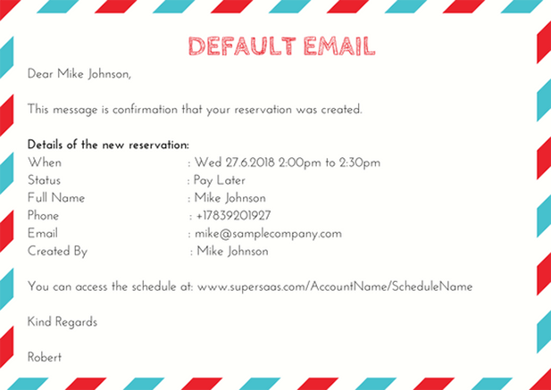 Personalize email with name, length, start time and finish time