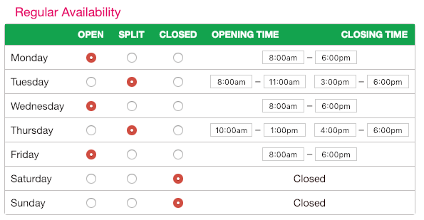 Adjust time availability on your SuperSaaS booking schedule