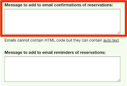 personalize your email confirmations of reservations on your SuperSaaS appointment booking schedule