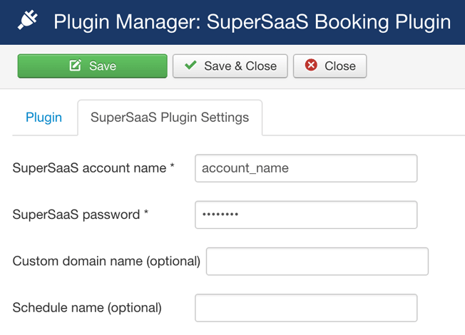 Plugin de reserva Joomla! SuperSaaS