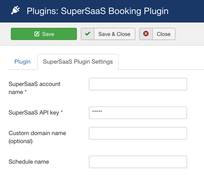 Joomla! SuperSaaS Booking Plugin