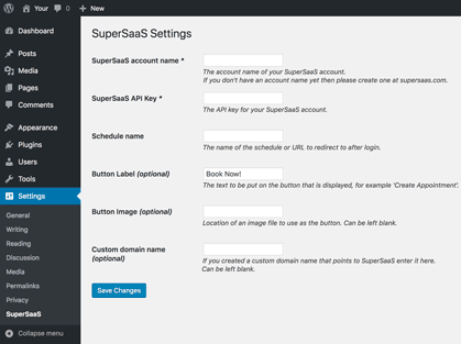 WordPress SuperSaaS Plugin Settings